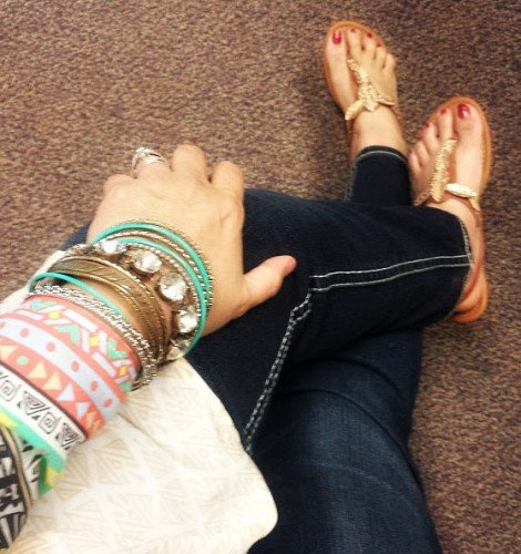 Spring sandals & foot scrubs-gold