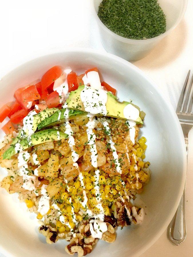 Delicious Pineapple Shrimp Bowl-veggies