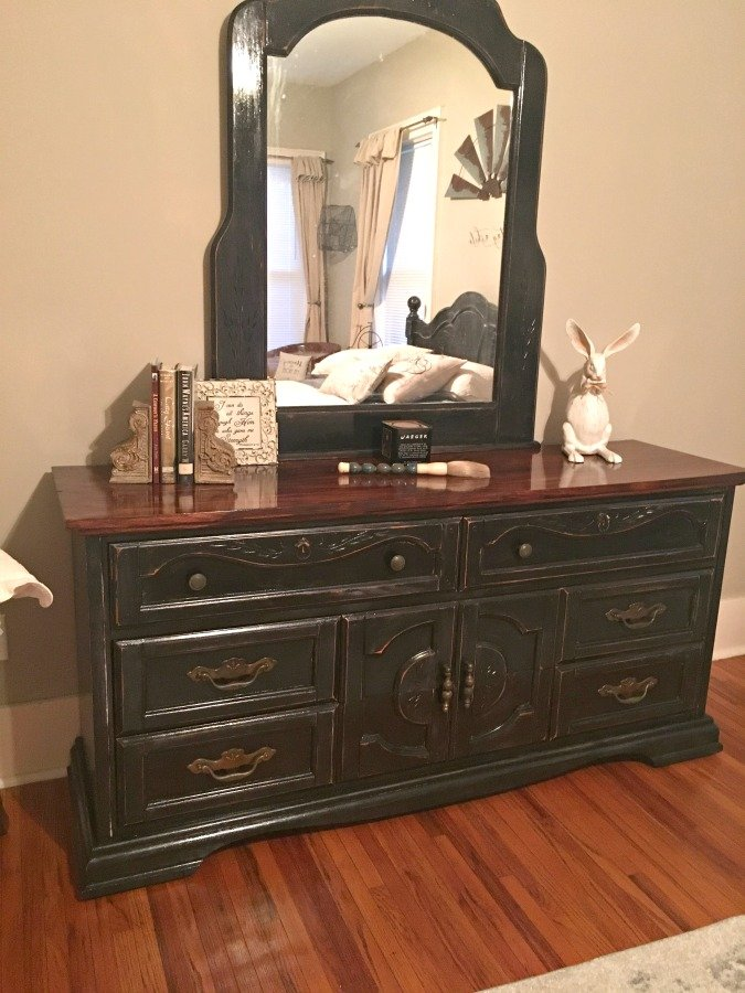 Distressing an old bedroom set-gullycreekcottage-finished