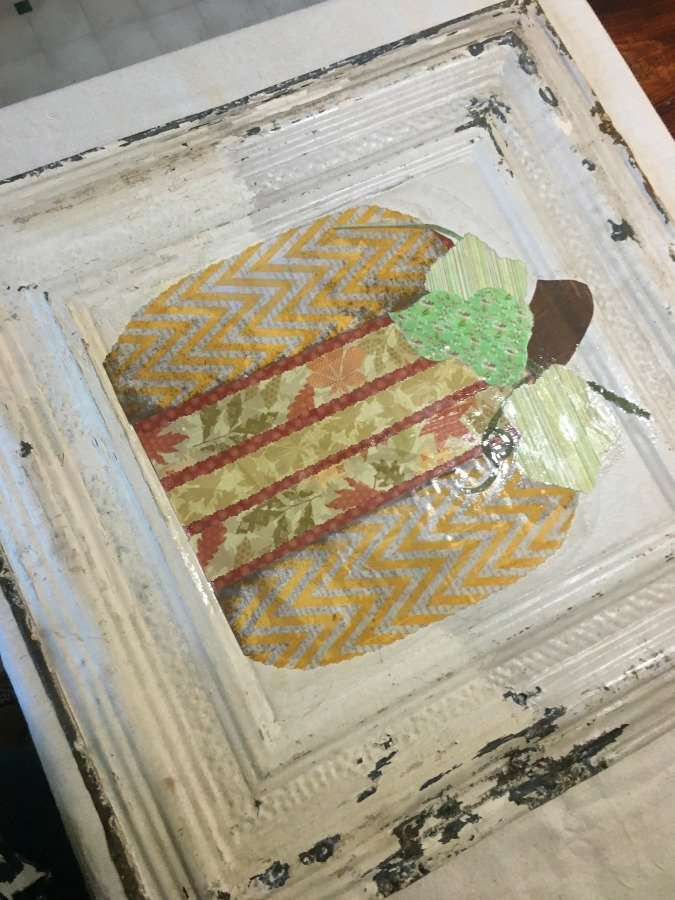 Fall Pumpkin Tile DIY-gcc-glued