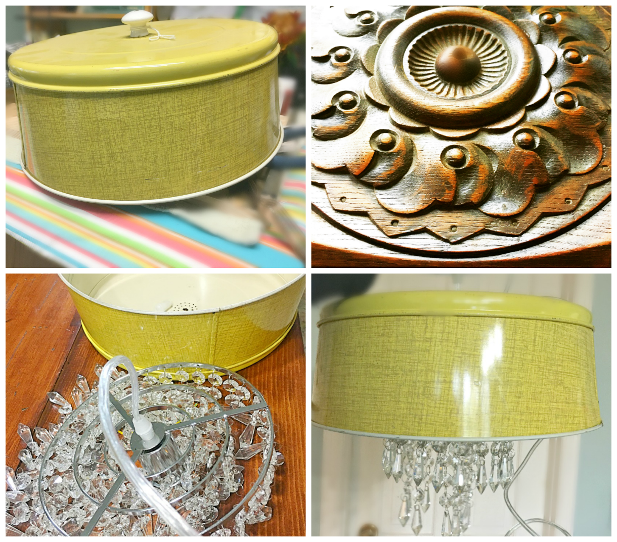 How to turn a cake carrier into a chandelier-gcc-collage