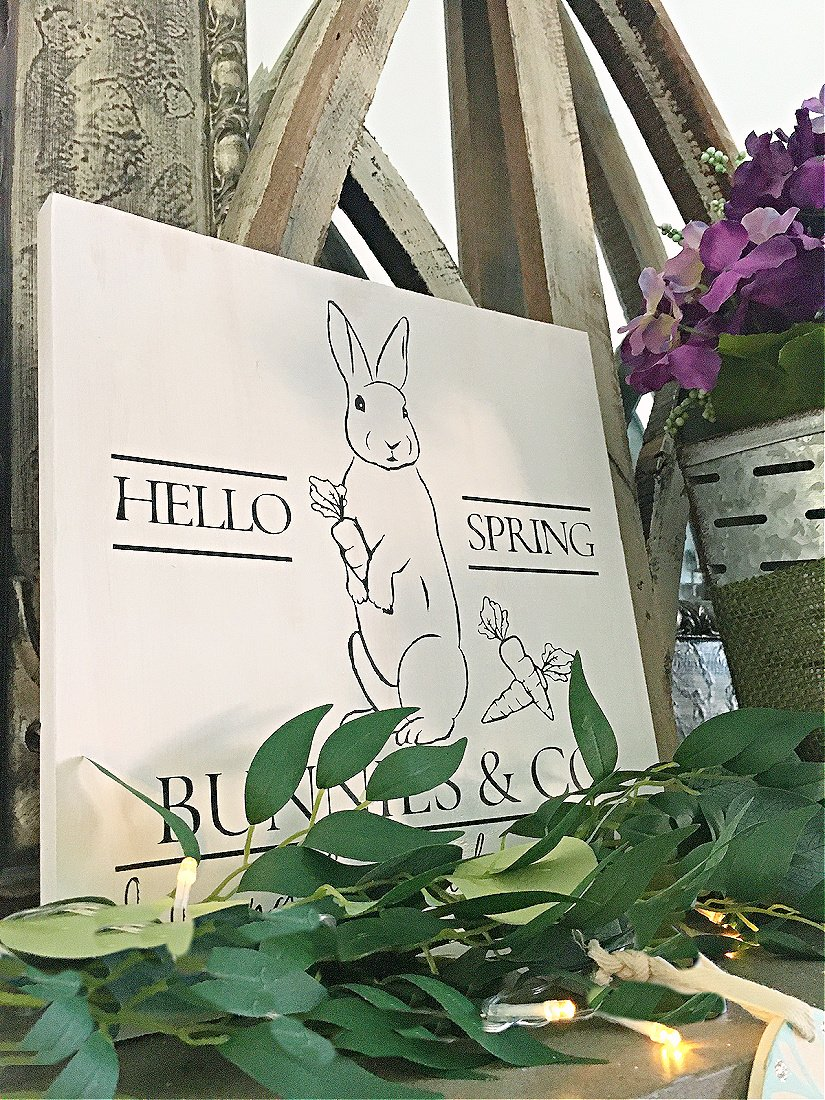 A Simple Spring Wood Sign-gcc-bunny