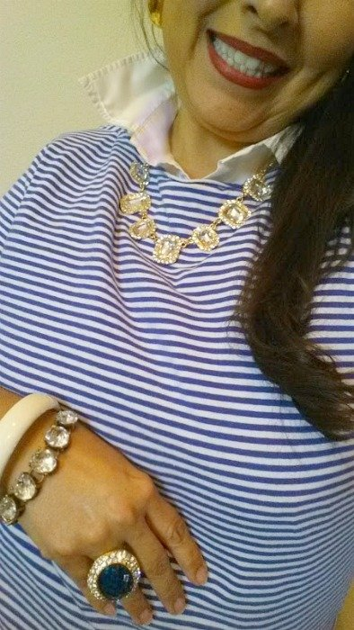 stripes and bling- tee