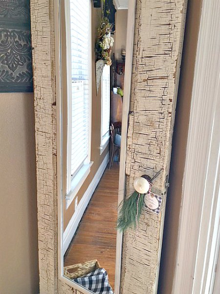 How an old door has a new purpose-girl-mirror